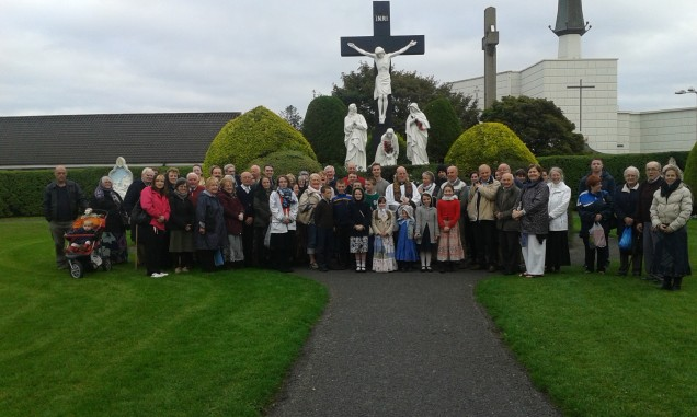Some of the pilgrims with Fr Macdonald at the Shrine of Knock.