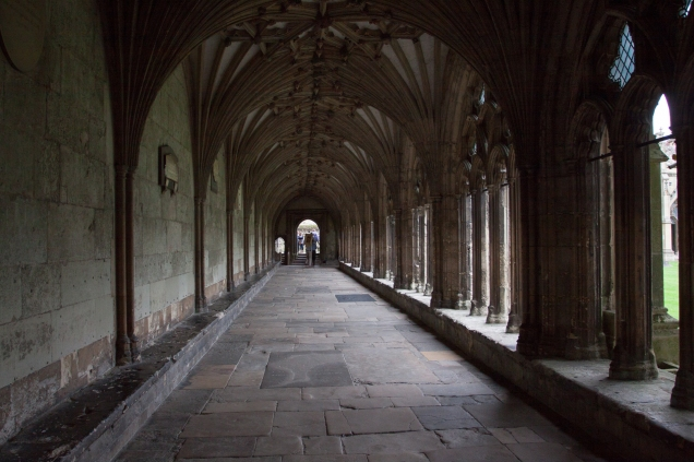 The pilgrimage entering the cloister at Canterbury Cathedral.